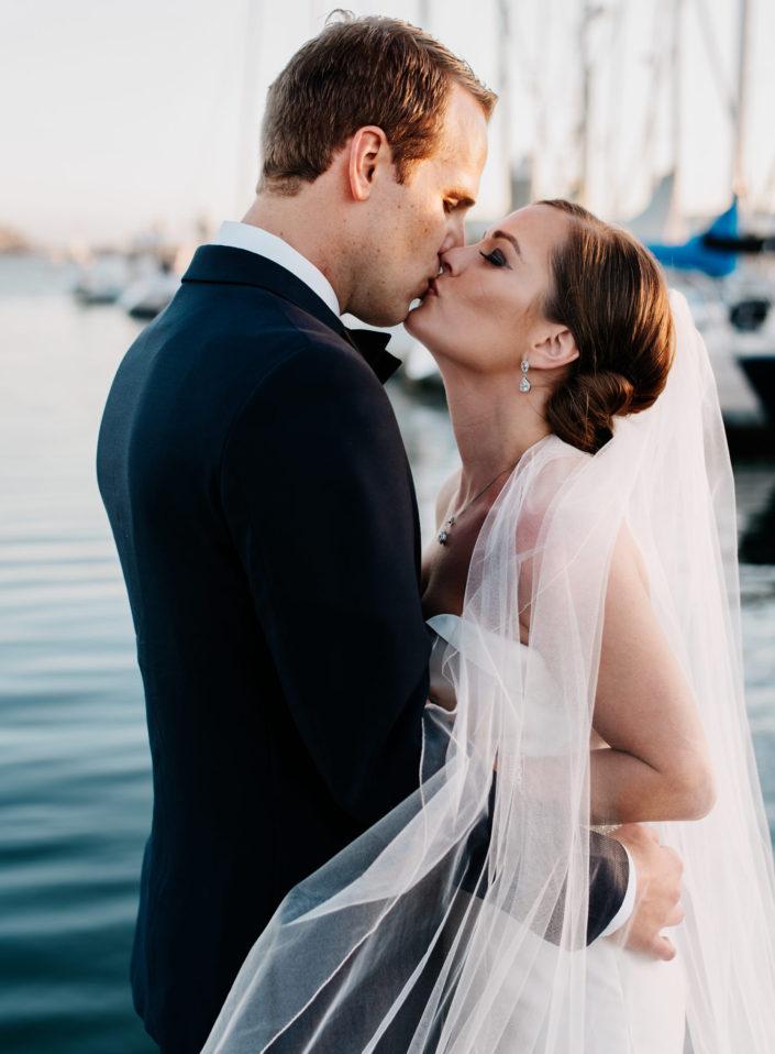 Sunset portrait at a California Yacht Club wedding