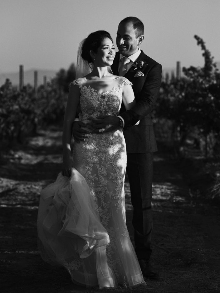Natural light wedding portrait Ponte Winery