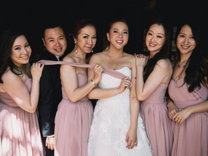 Bride and friends before first look