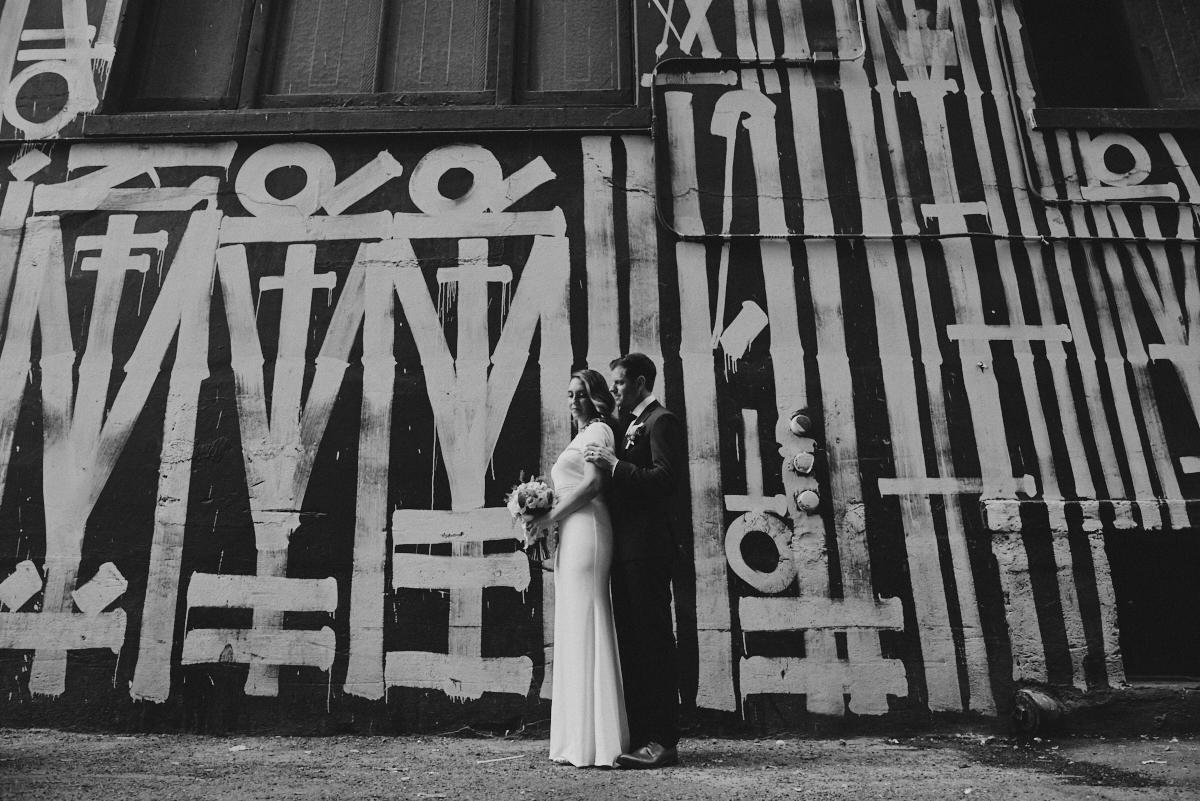 Black and white portrait Los Angeles Athletic Club Wedding