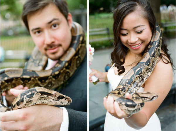 Washington square park wedding portrait with snake