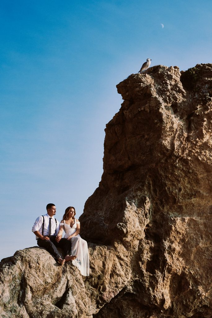 el matador beach engagement portrait
