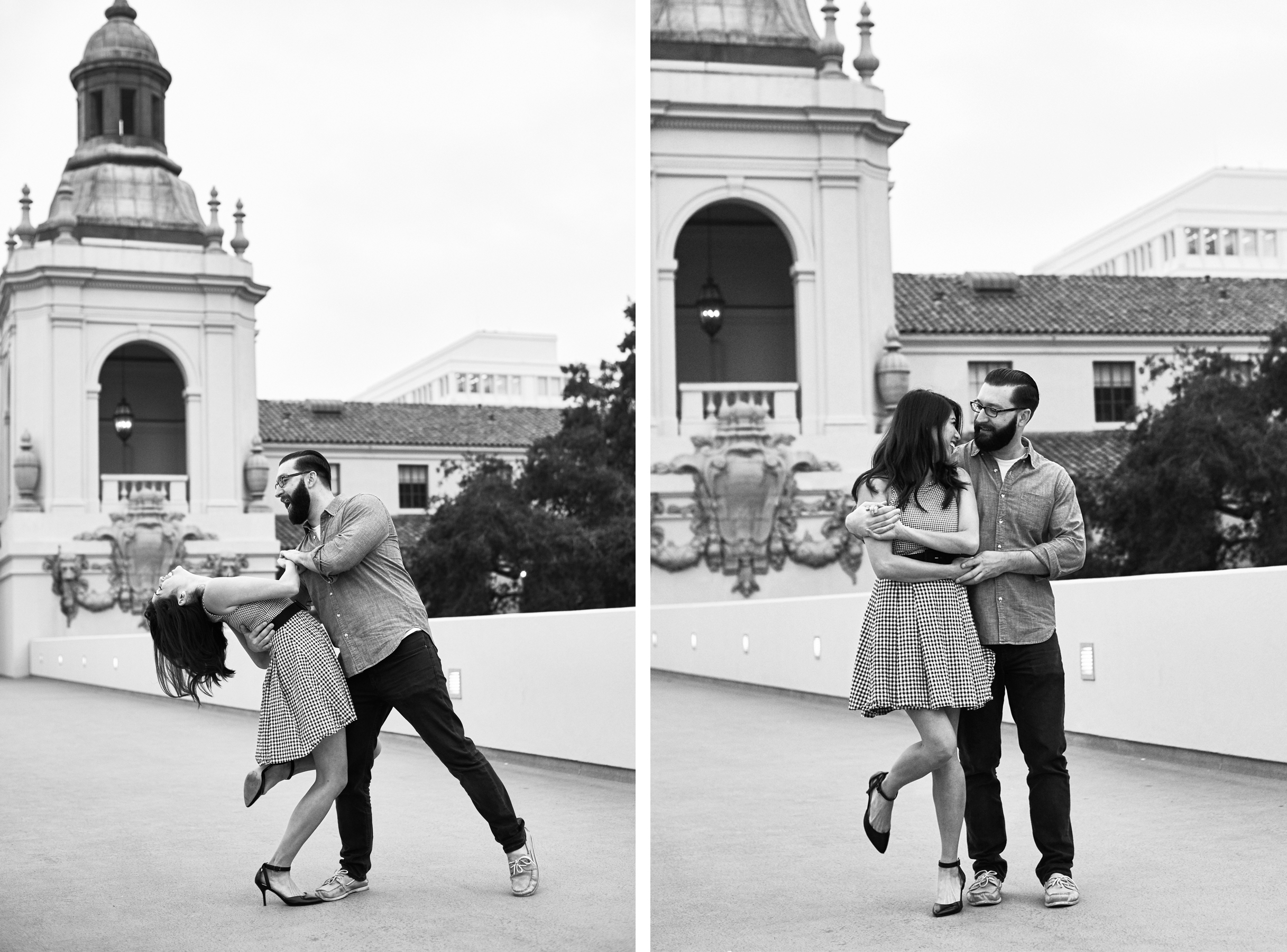black and white engagement portrait pasadena city hall