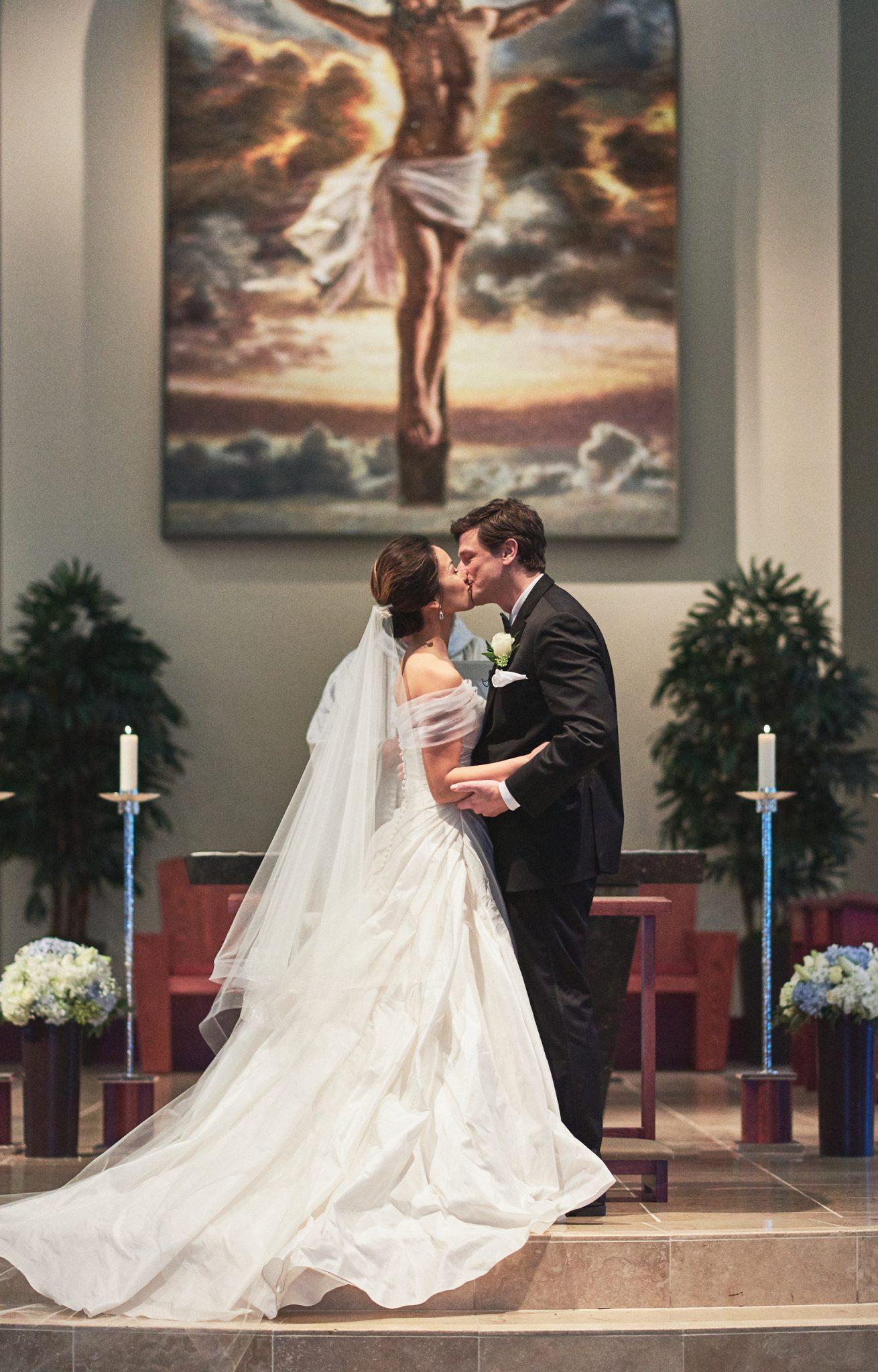 Wedding first kiss St. Kilian Catholic Church