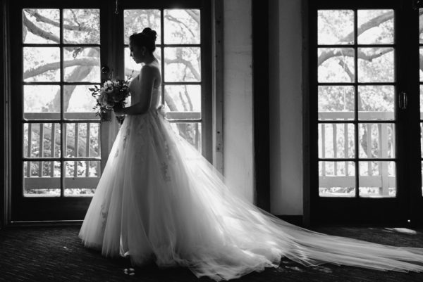 Black and white portrait of the bride before first look Calamigos Ranch