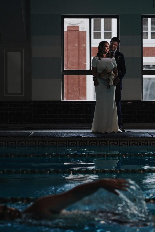 Swimming pool wedding portrait Los Angeles Athletic Club Wedding