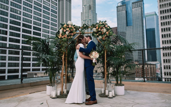 Wedding First Kiss Los Angeles Athletic Club