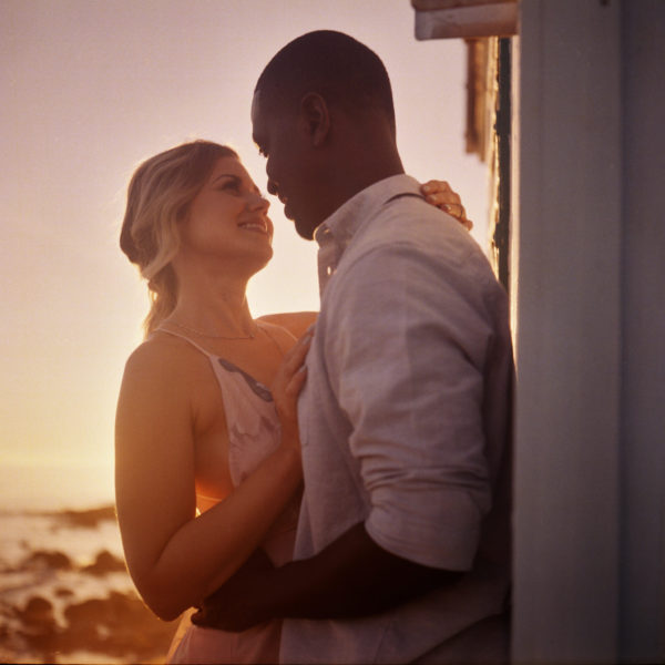 Sunset engagement portrait photographed on Kodak Portra 400 medium format film.