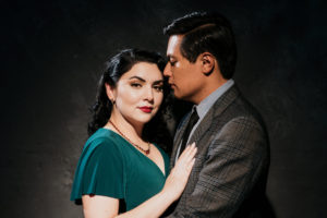 Classic Hollywood engagement portrait