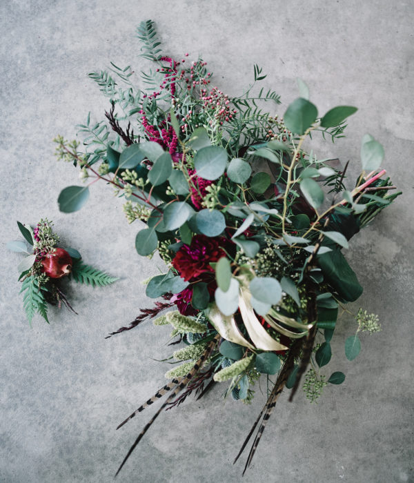 pheasant feather bridal bouquet