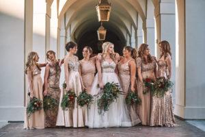 Mismatched bridesmaid dresses gold