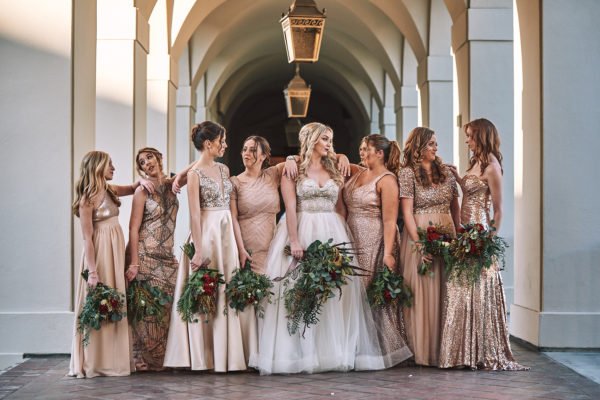 Mismatched bridesmaid dresses gold