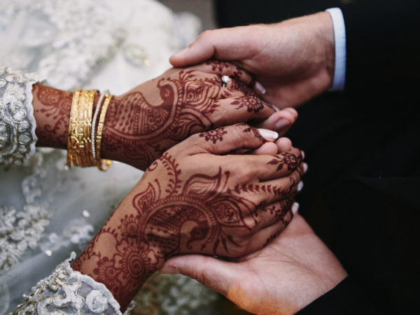 Bride's henna and groom