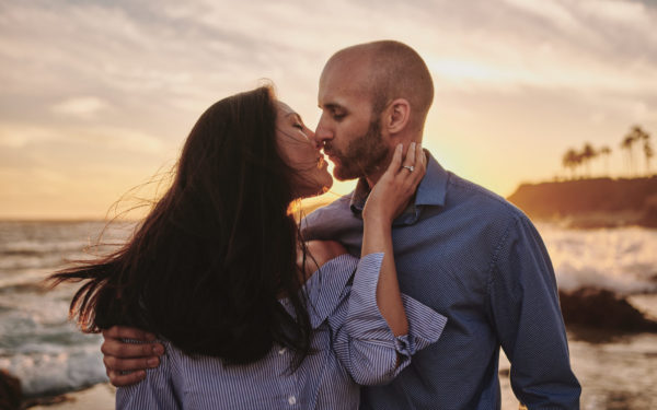 Sunset engagement portrait Montage Resort Beach