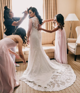 Bridal prep backlit wedding dress