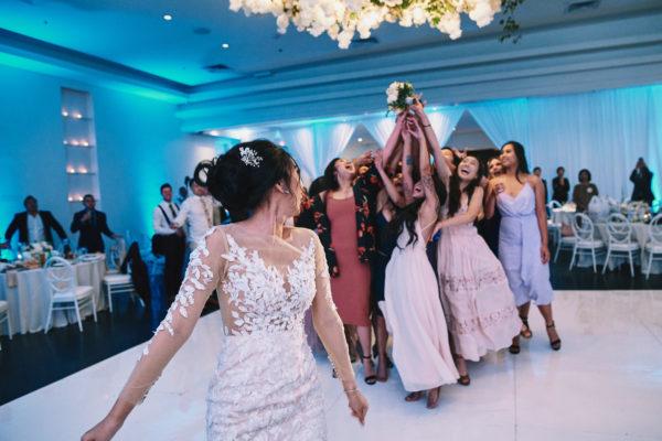 Venue by Three Petals sparklers wedding bouquet toss