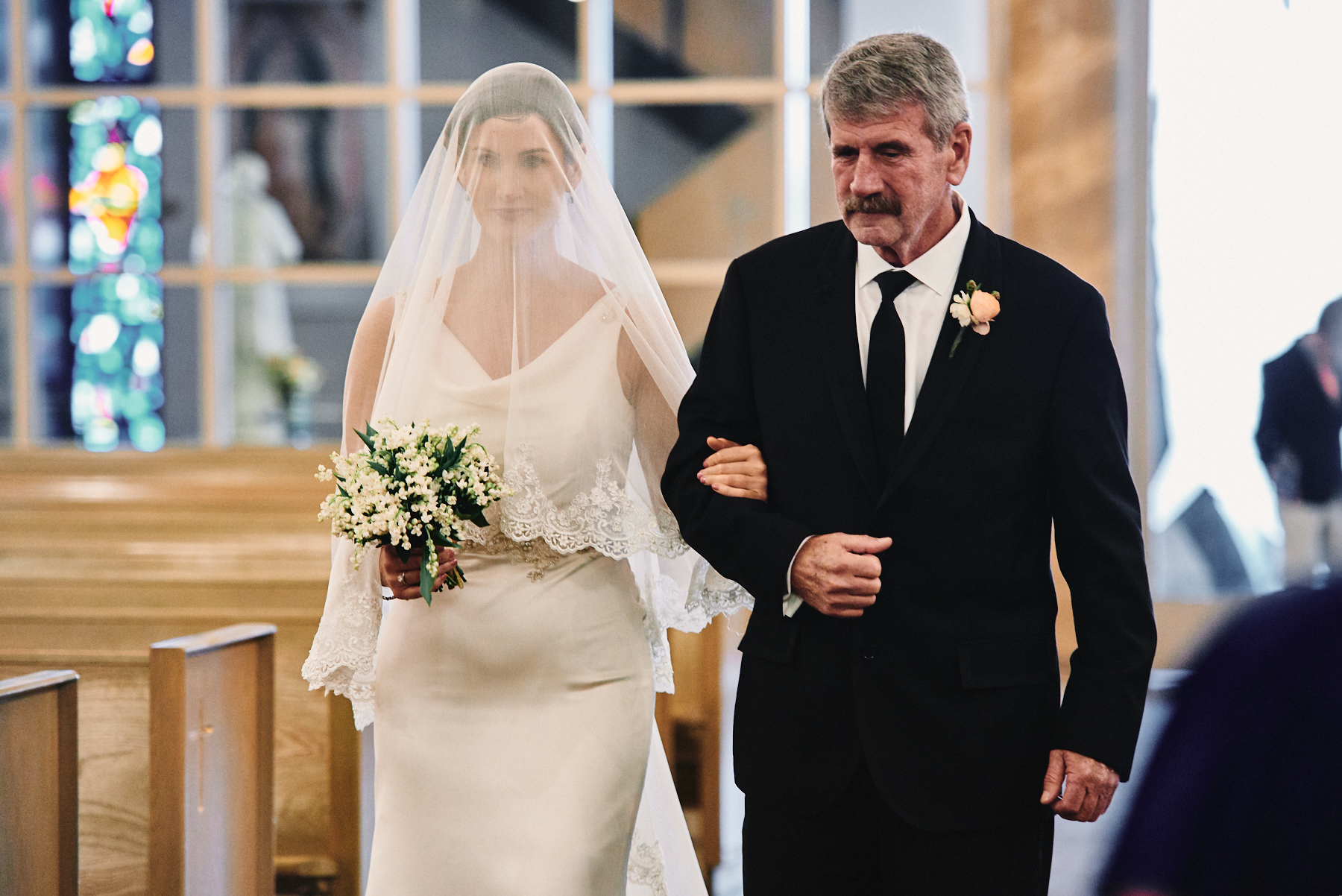Saint Victor Catholic Church bride and father