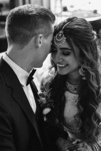 Black and white portrait bride and groom Perch LA