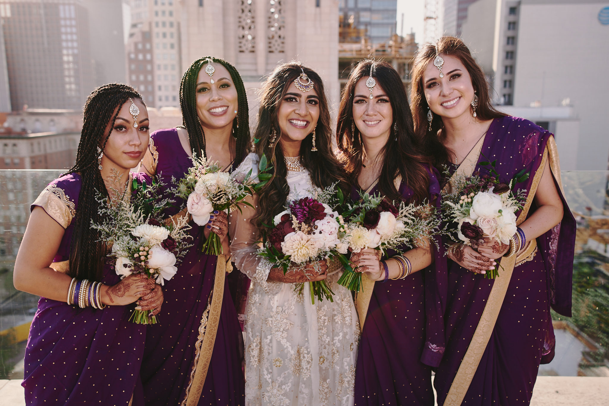 Bride and Bridesmaids rooftop Perch LA