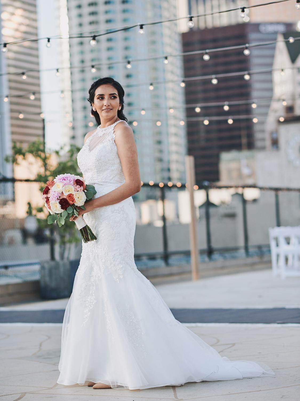 Bride portrait Los Angeles Athletic Club rooftop
