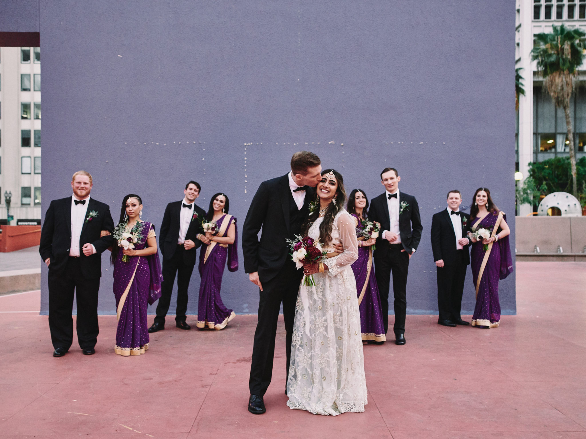 Wedding party portrait Pershing Square Downtown LA
