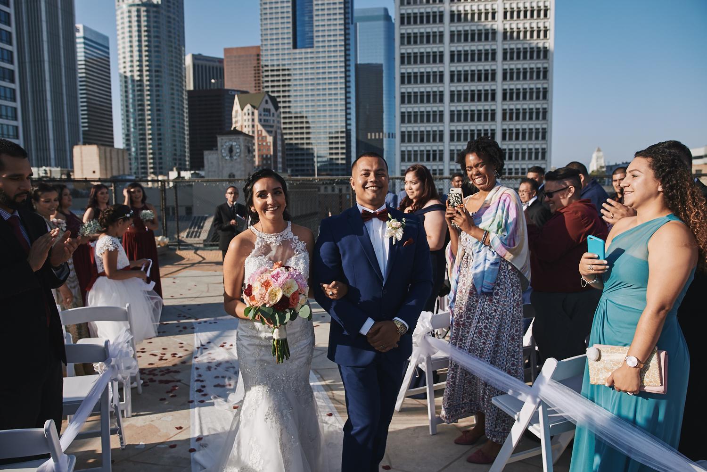 Wedding ceremony Los Angeles Athletic Club rooftop