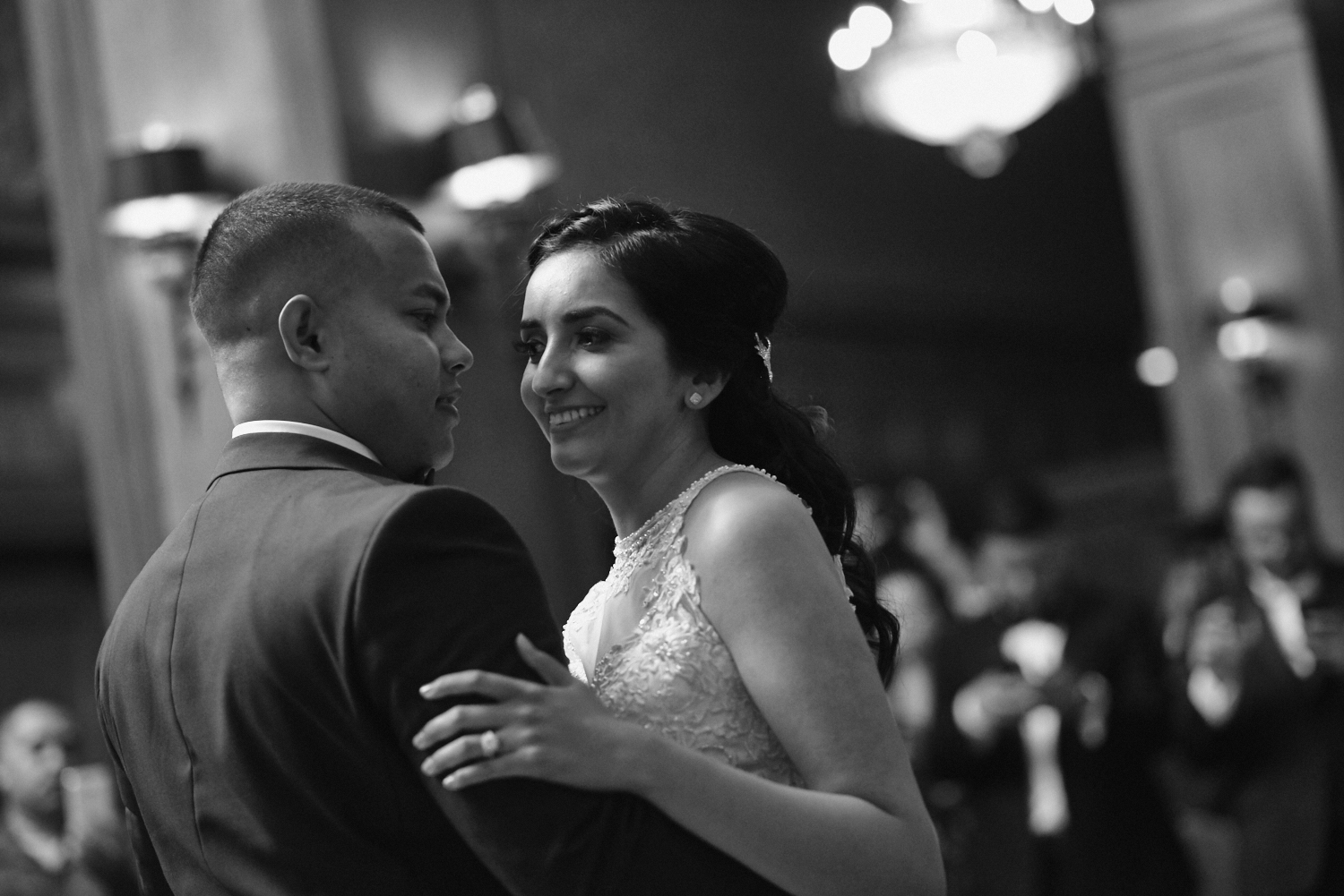 Black and white wedding first dance Los Angeles Athletic Club