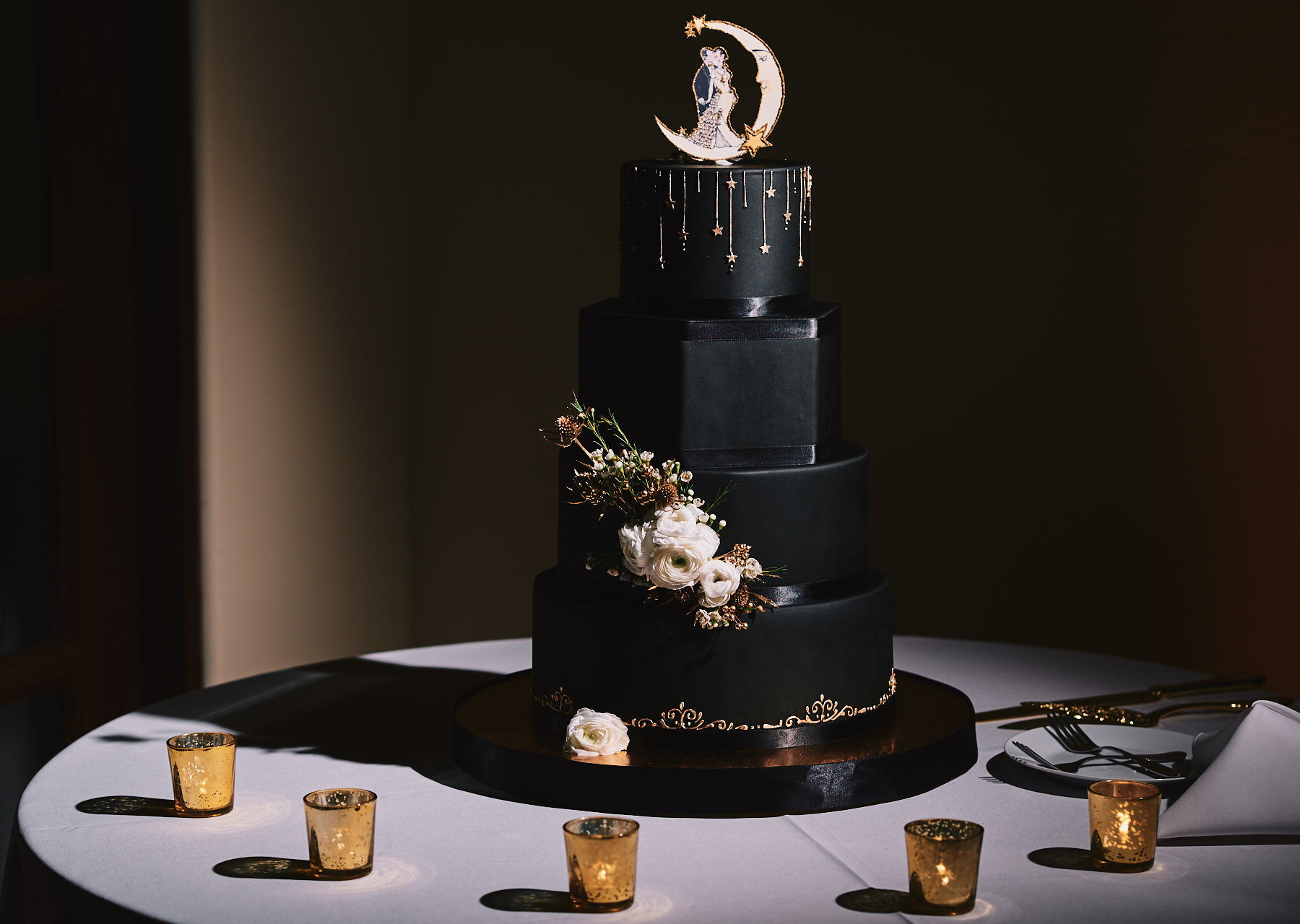 Secret Garden Event Center black wedding cake