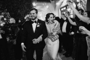 Secret Garden Event Center wedding exit sparklers black and white