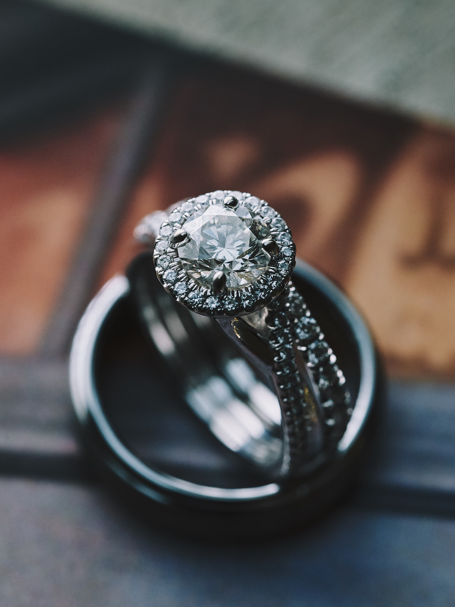 Wedding bands engagement ring closeup