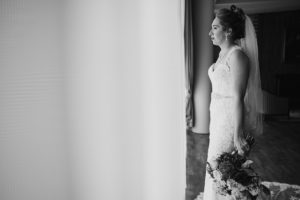 Salvation Army Crestmont College wedding bride portrait black and white