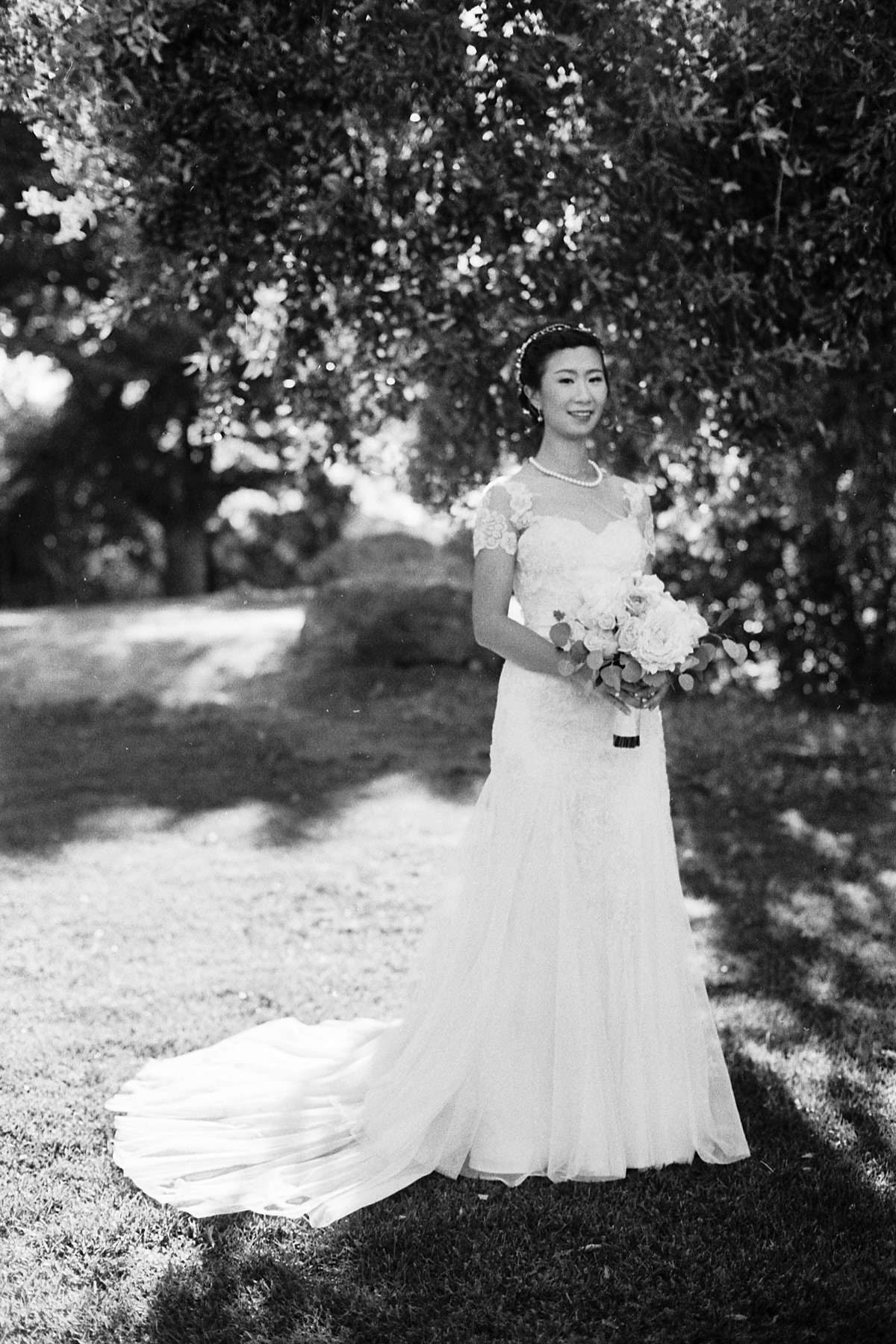 Quail Ranch bride portrait Ilford HP5 Nikon FE2