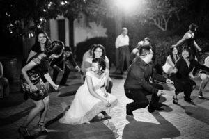 Quail Ranch black and white wedding reception Ilford HP5