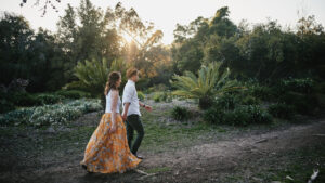 LA Arboretum engagement portrait